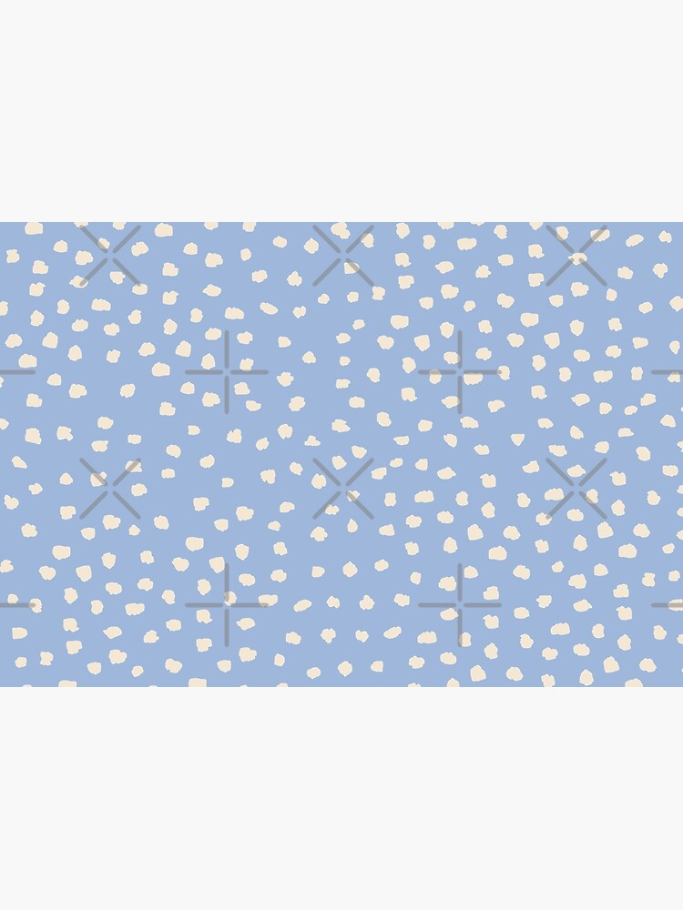 Buttercream Dalmatian Dots on Cerulean Blue by ebozzastudio