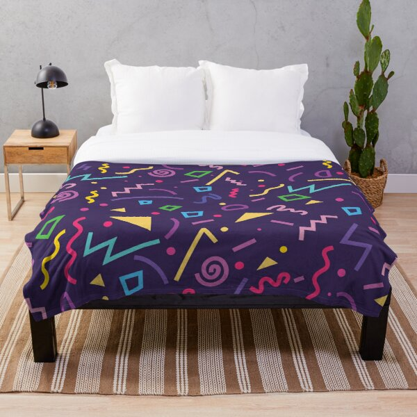 80s Purple Memphis Pattern Throw Blanket