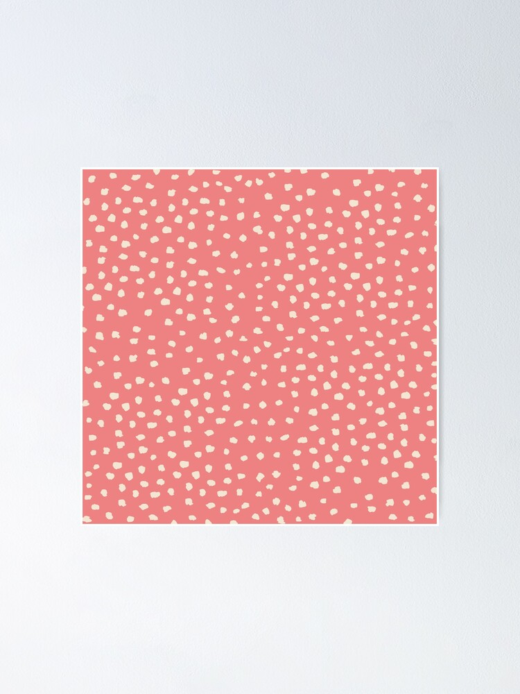 Alternate view of Buttercream Dalmatian Dots on Burnt Coral Poster