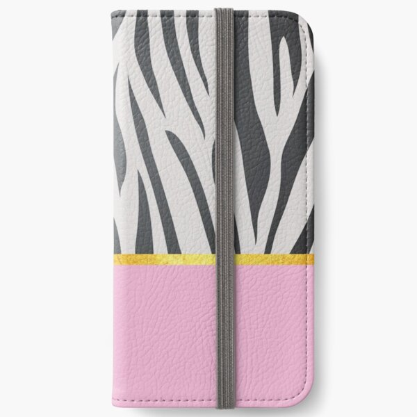 Black and white zebra print on pink, golden lining iPhone Wallet