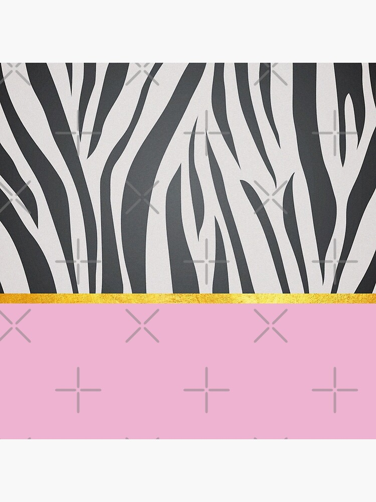Black and white zebra print on pink, golden lining by ColorsHappiness