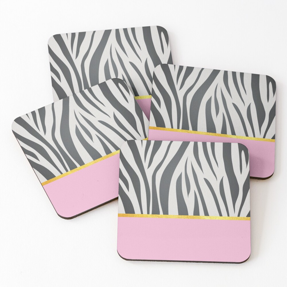 Black and white zebra print on pink, golden lining Coasters (Set of 4)