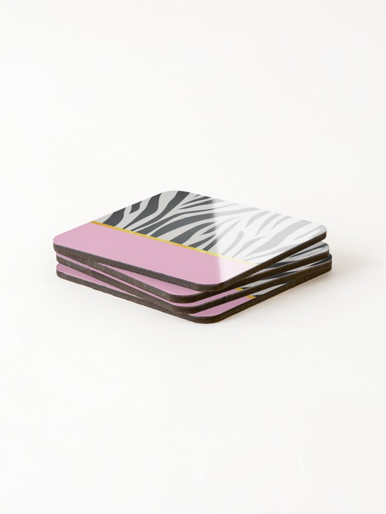 Alternate view of Black and white zebra print on pink, golden lining Coasters (Set of 4)