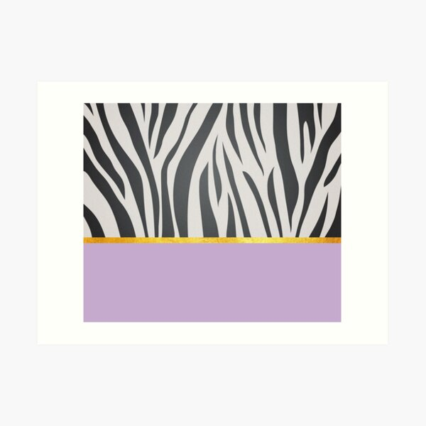 Black and white zebra print on purple, golden lining Art Print