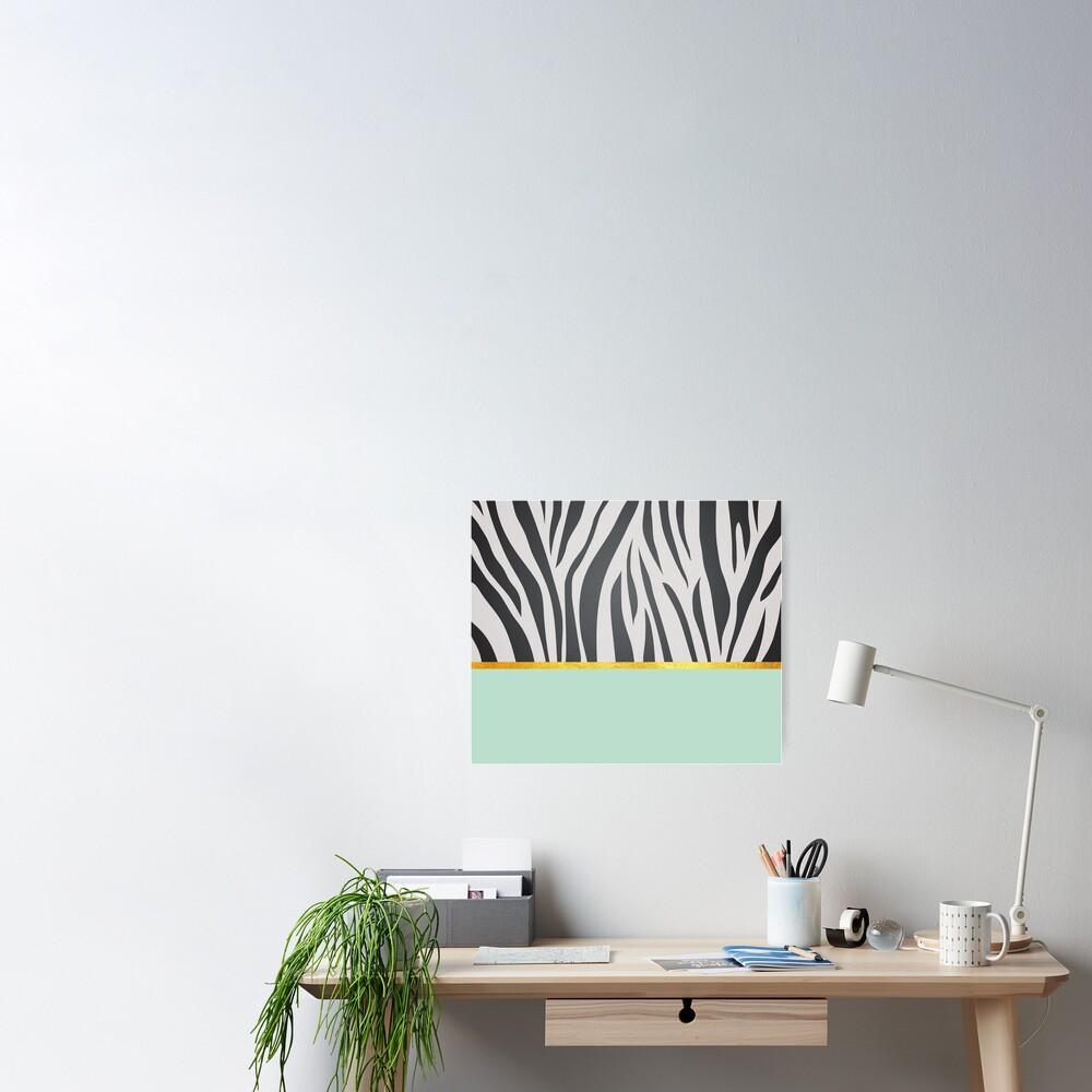 Black and white zebra print on green, golden lining Poster