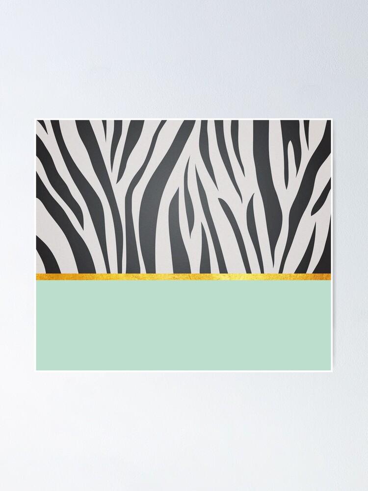 Alternate view of Black and white zebra print on green, golden lining Poster