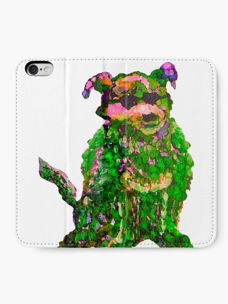 Alternate view of Cool Dog Green Abstract  iPhone Wallet