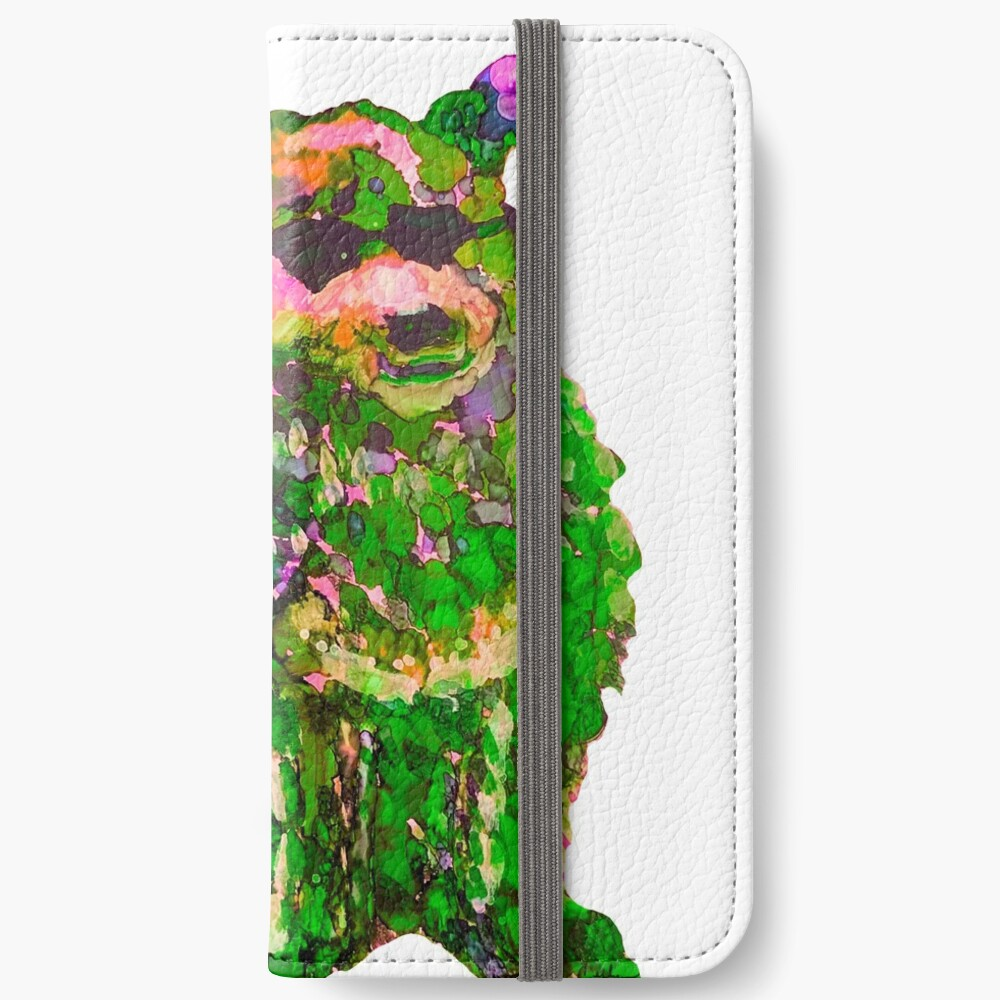 Cool Dog Green Abstract  iPhone Wallet