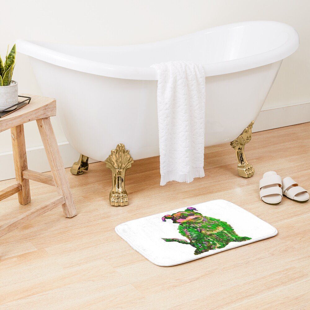 Cool Dog Green Abstract  Bath Mat