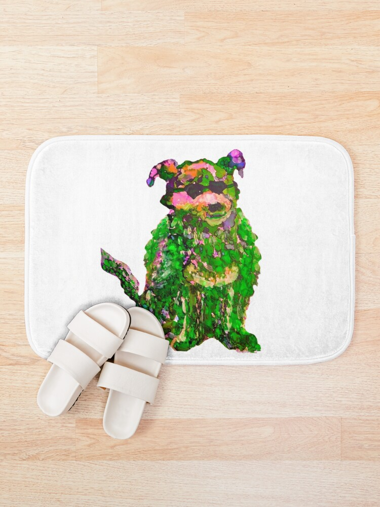 Alternate view of Cool Dog Green Abstract  Bath Mat