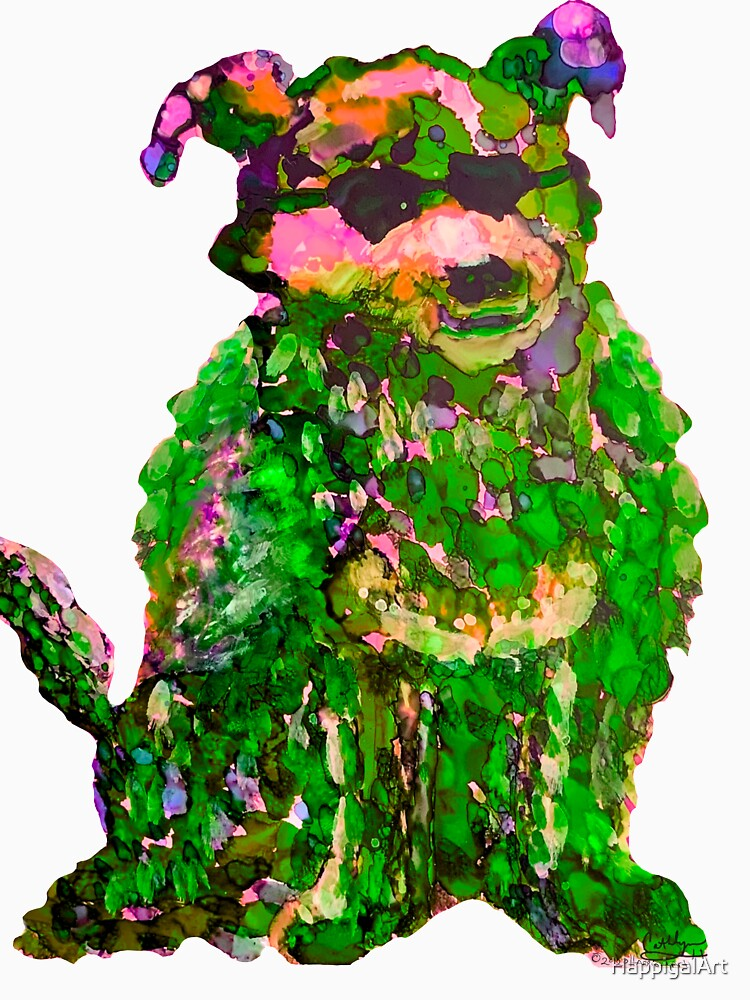 Cool Dog Green Abstract  by HappigalArt
