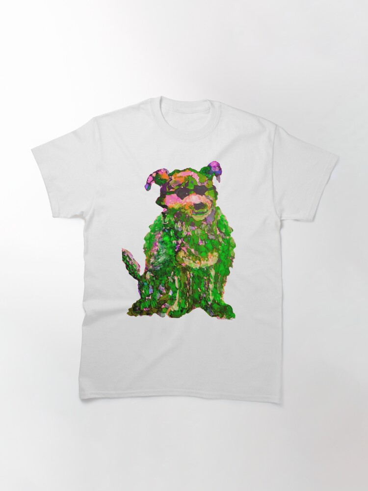 Alternate view of Cool Dog Green Abstract  Classic T-Shirt