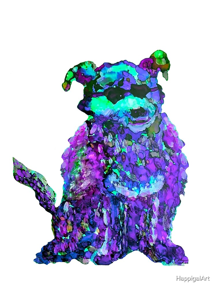 Cool Dog Purple Abstract  by HappigalArt