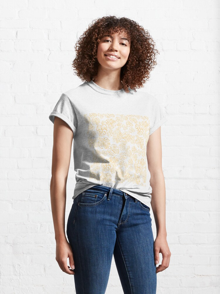 Alternate view of Monstera Jungle Leaves Marigold Yellow & Rust palette_vector drawing  Classic T-Shirt