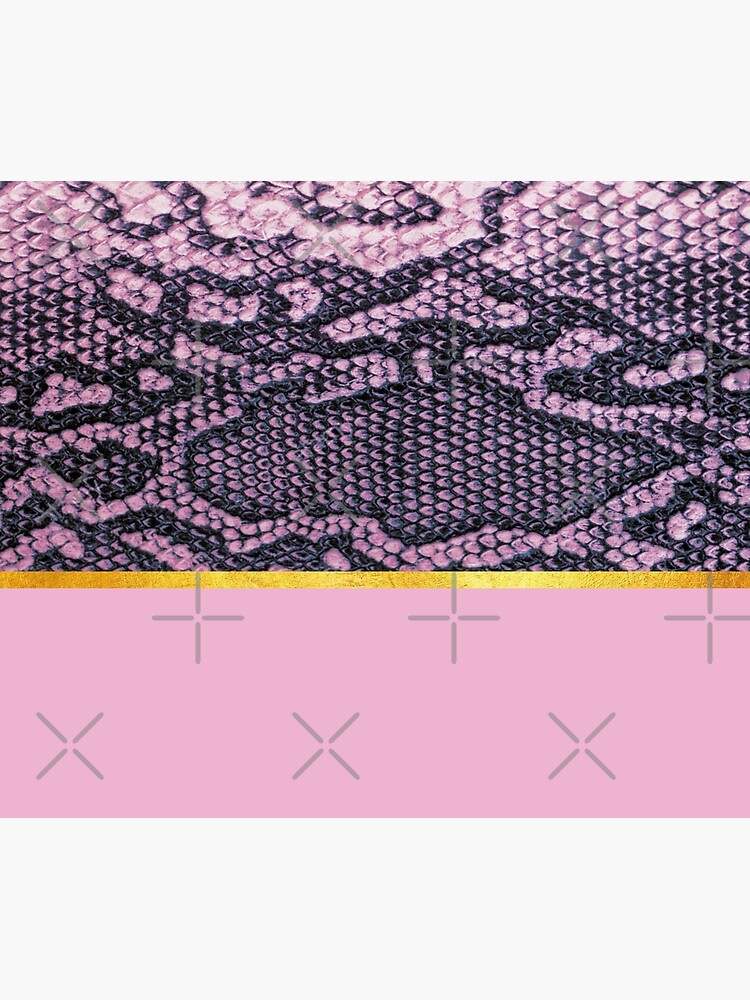 Coloured snake print on pink, golden lining by ColorsHappiness