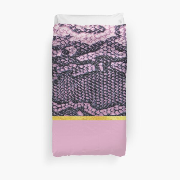 Coloured snake print on pink, golden lining Duvet Cover