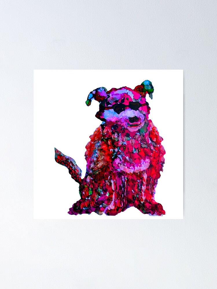Alternate view of Cool Dog Red Abstract  Poster