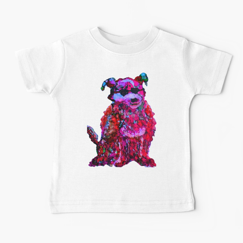 Cool Dog Red Abstract  Baby T-Shirt