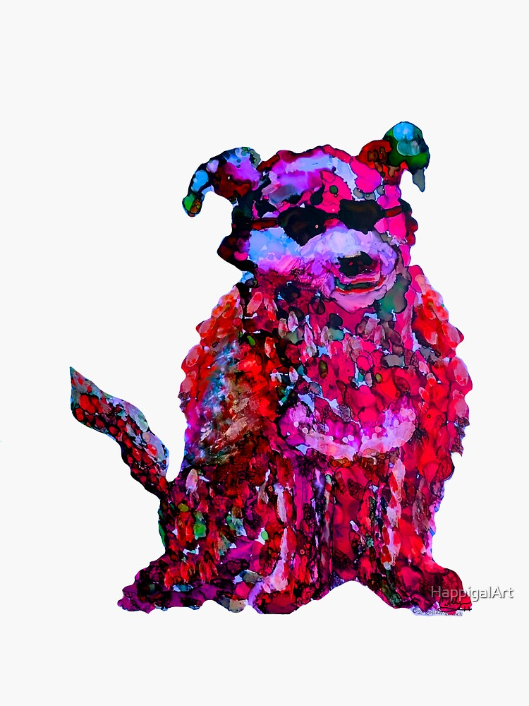 Cool Dog Red Abstract  by HappigalArt