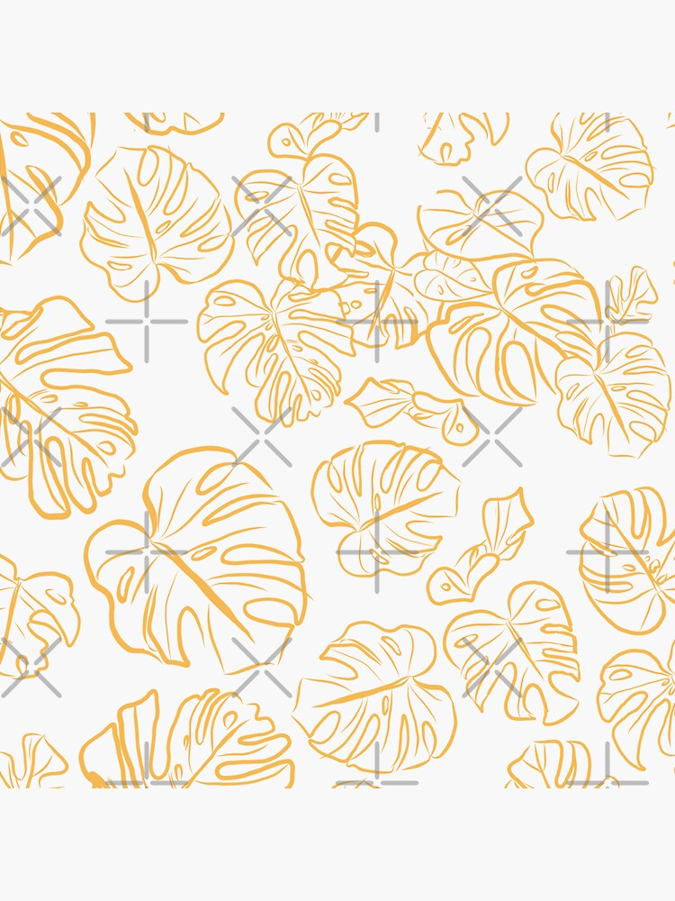 Monstera Jungle large Leaves Marigold Yellow & Rust palette_vector drawing  by ebozzastudio