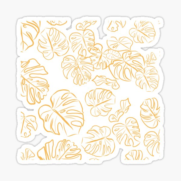 Monstera Jungle large Leaves Marigold Yellow & Rust palette_vector drawing  Sticker
