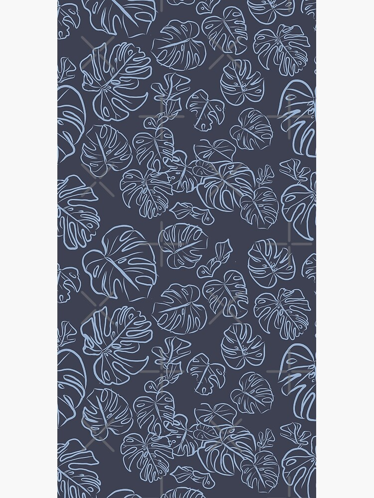 Monstera Blue Jungle Leaves Navy Inkwell blue palette_vector drawing  by ebozzastudio