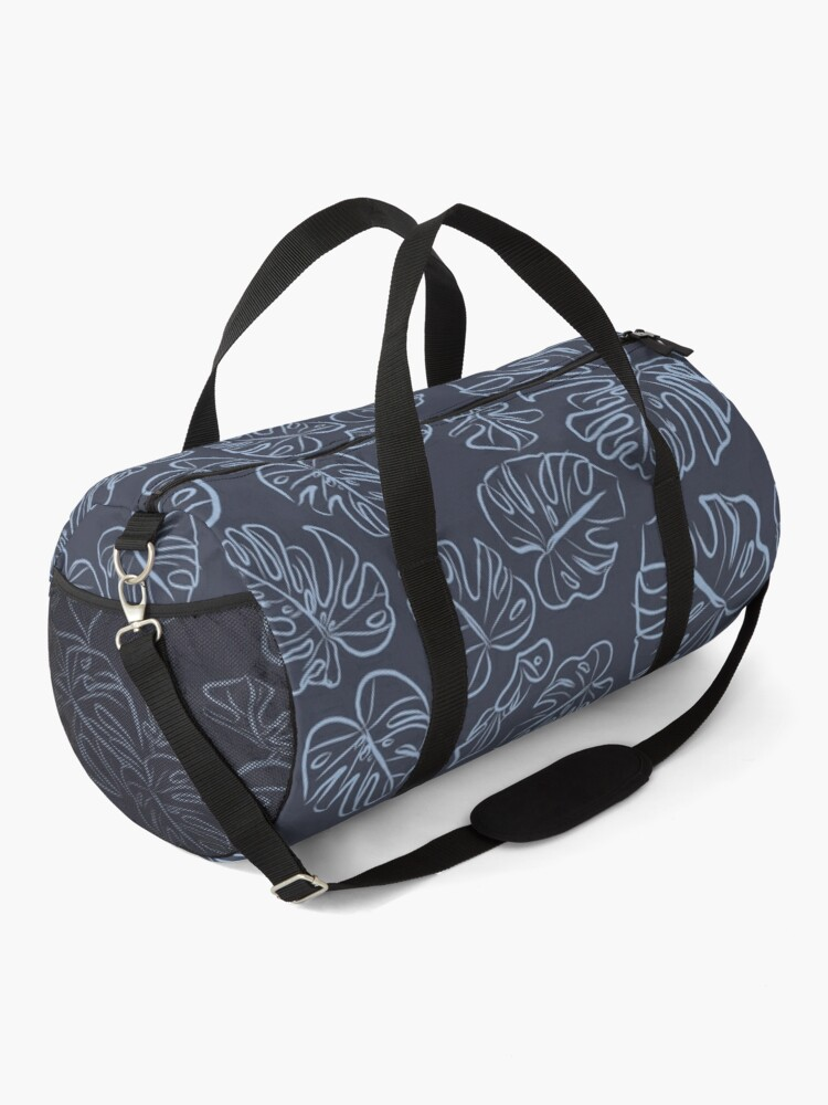Alternate view of Monstera Blue Jungle Leaves Navy Inkwell blue palette_vector drawing  Duffle Bag