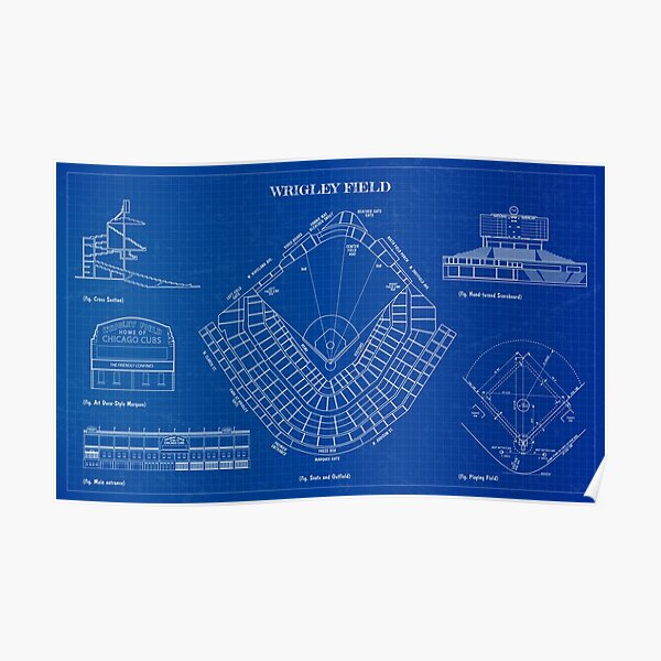 Wrigley Field (Blueprint) Poster