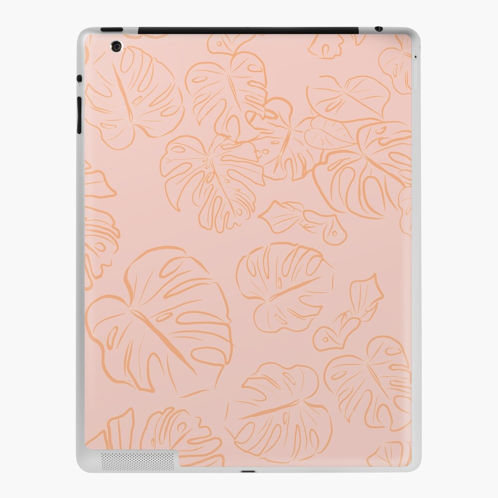 Monstera Peachy Jungle large Leaves & Blush Pastel Pink palette_vector drawing  iPad Case & Skin