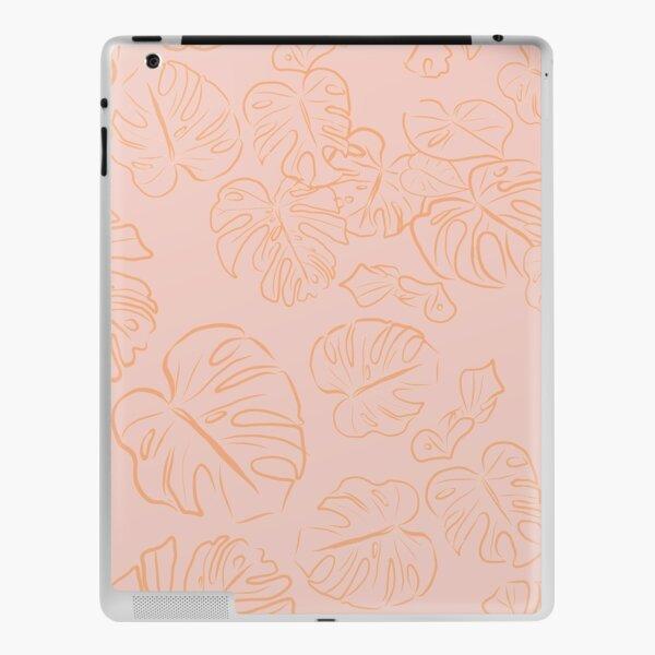 Monstera Peachy Jungle large Leaves & Blush Pastel Pink palette_vector drawing  iPad Skin