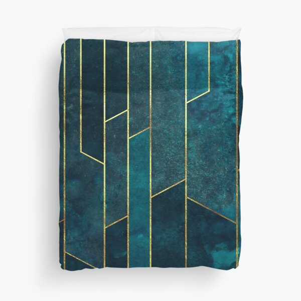 Teal Gold Geometric Duvet Cover