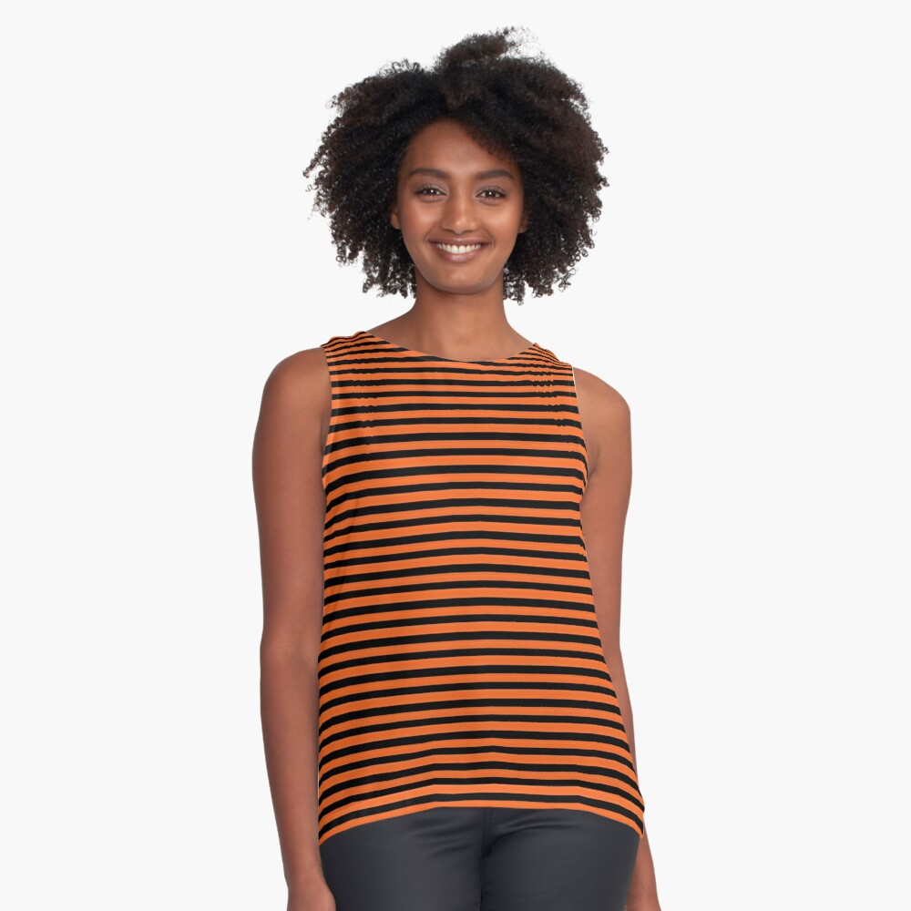 Halloween Stripes - Black and Orange - Classic striped pattern by Cecca Designs Sleeveless Top
