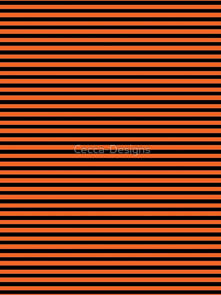 Halloween Stripes - Black and Orange - Classic striped pattern by Cecca Designs by Cecca-Designs