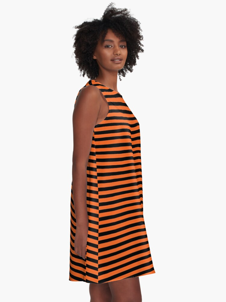 Alternate view of Halloween Stripes - Black and Orange - Classic striped pattern by Cecca Designs A-Line Dress