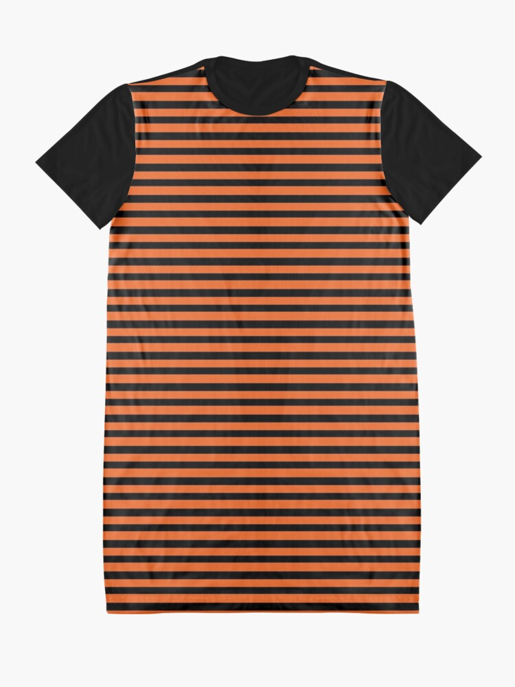 Alternate view of Halloween Stripes - Black and Orange - Classic striped pattern by Cecca Designs Graphic T-Shirt Dress