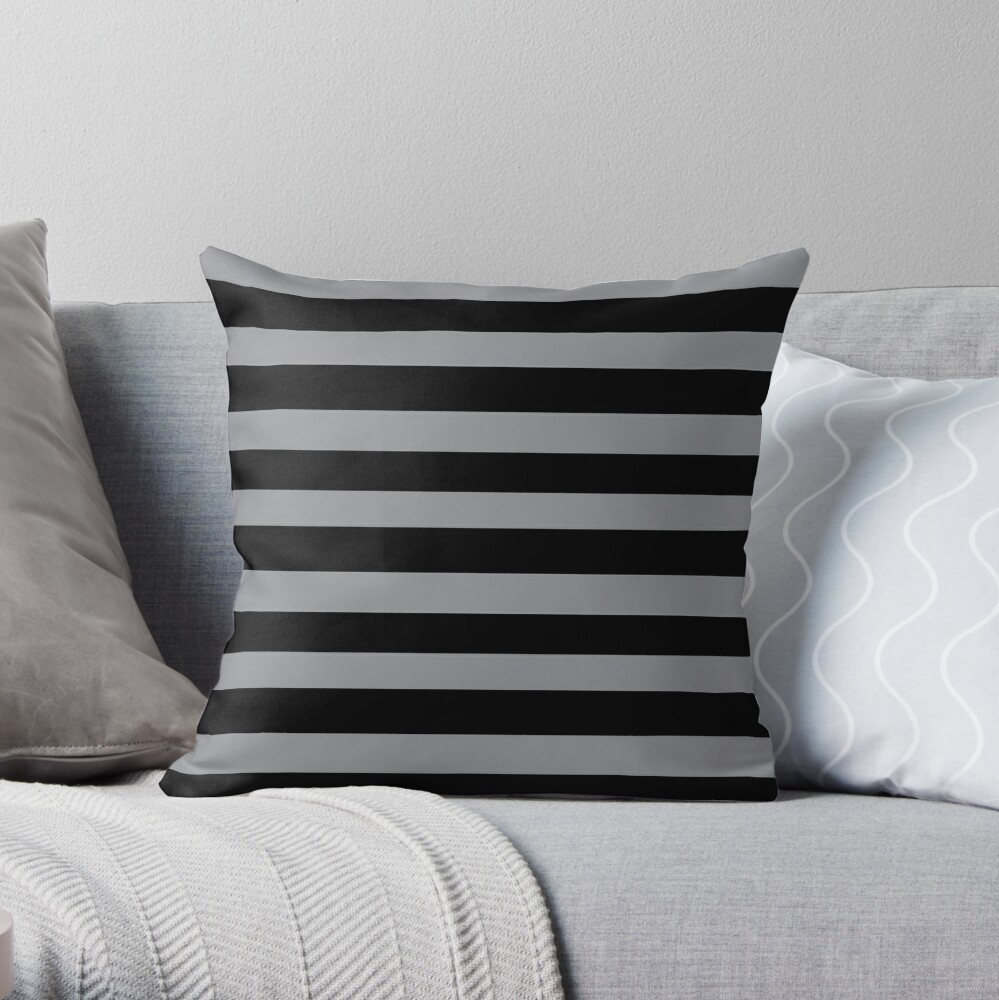Black and Grey horizontal stripes - Classic striped pattern by Cecca Designs Throw Pillow