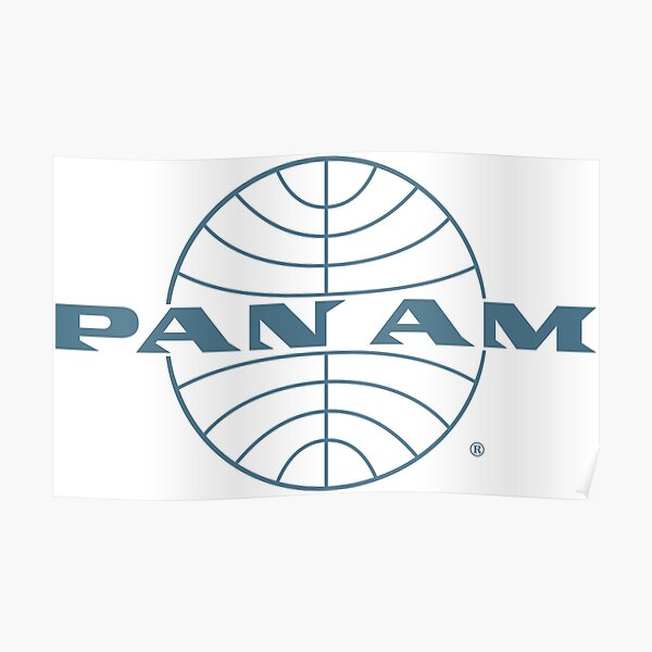 Pan Am Early 1950s Wordmark Extending Thin Frame Globe Poster
