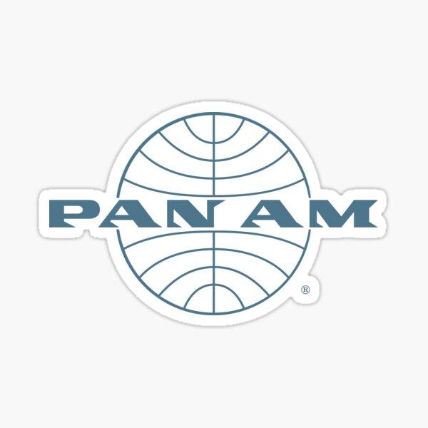 Pan Am Early 1950s Wordmark Extending Thin Frame Globe Sticker