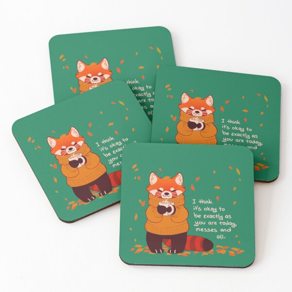 """""""It's Okay to Be Exactly As You Are Today"""" Coffee Autumn Red Panda Coasters (Set of 4)"""