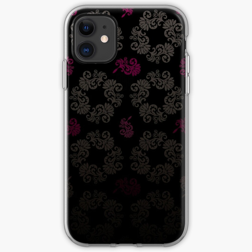 Black floral pattern iPhone Case & Cover