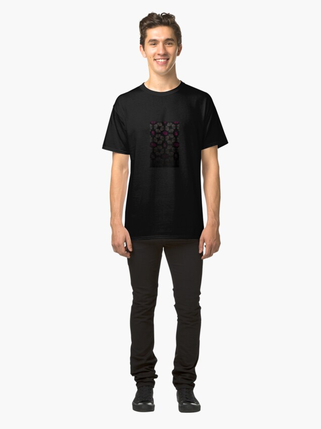 Alternate view of Black floral pattern Classic T-Shirt