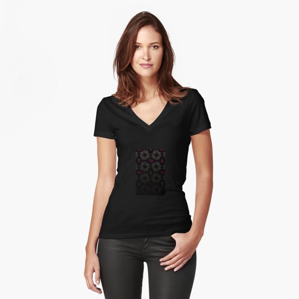 Black floral pattern Fitted V-Neck T-Shirt