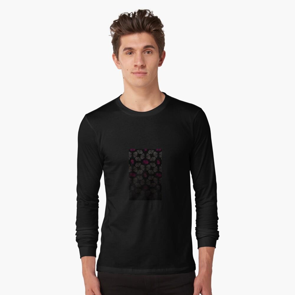 Black floral pattern Long Sleeve T-Shirt