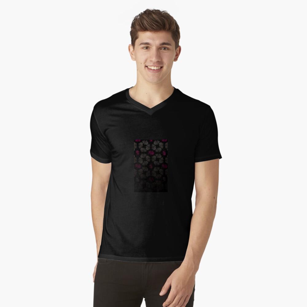 Black floral pattern V-Neck T-Shirt