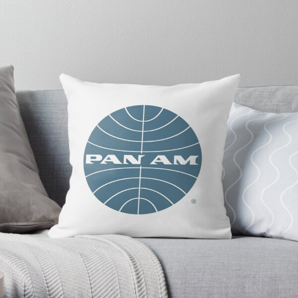 Pan Am Early 1950s Globe Thin Frame Inverted Throw Pillow
