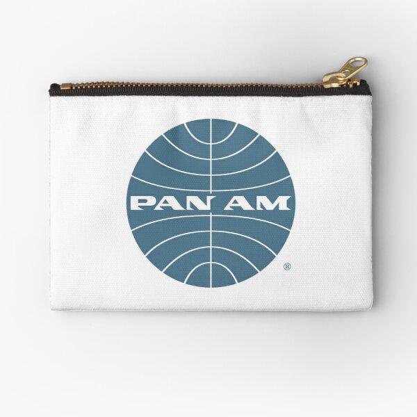 Pan Am Early 1950s Globe Thin Frame Inverted Zipper Pouch