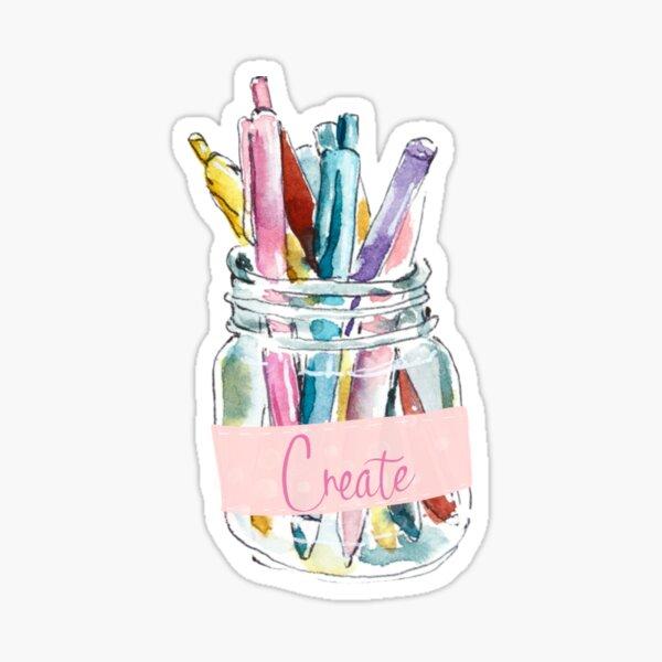 Create Pastels Glass Jar Watercolor Art Sticker