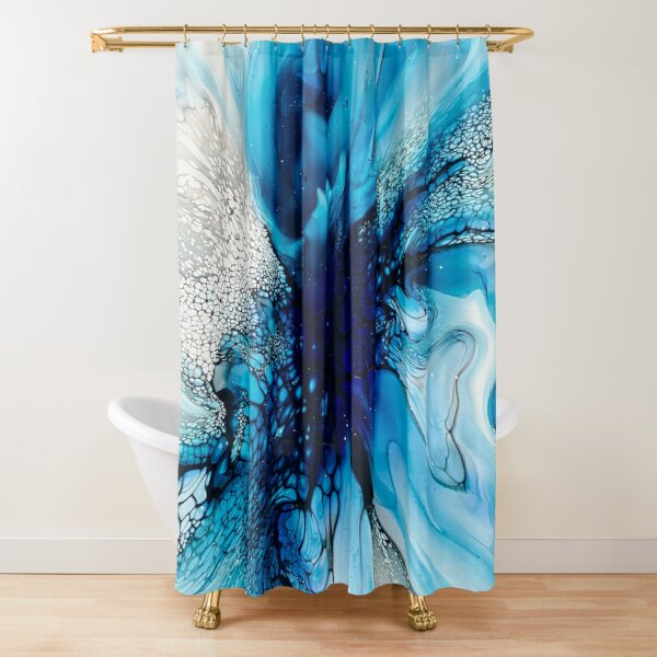 Purple, Blue, Black and White Abstract Fluid Art Painting. Pour Art. Shower Curtain