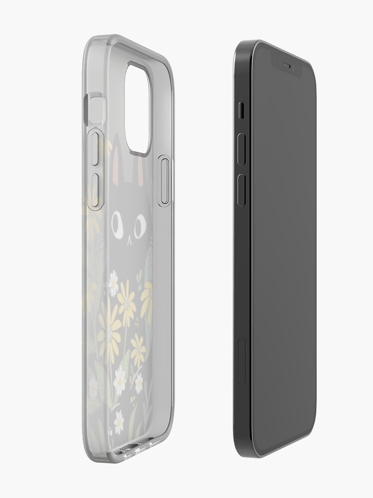 Alternate view of Black cat with flowers  iPhone Case & Cover