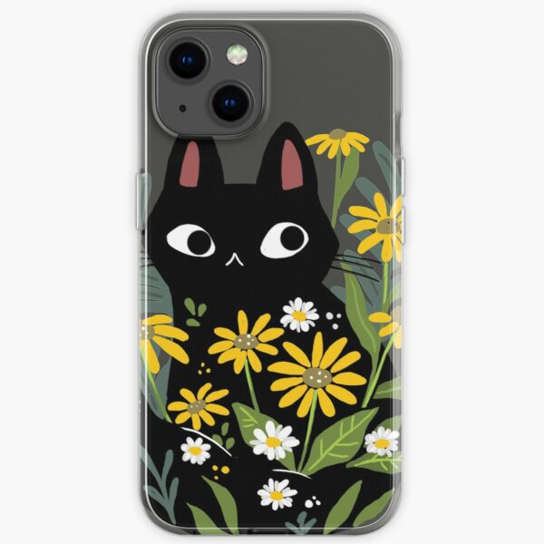 Black cat with flowers  iPhone Soft Case